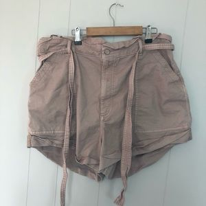 Abercrombie and Fitch pale pink shorts with a tie